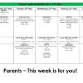 Parents week – 23rd – 27th May